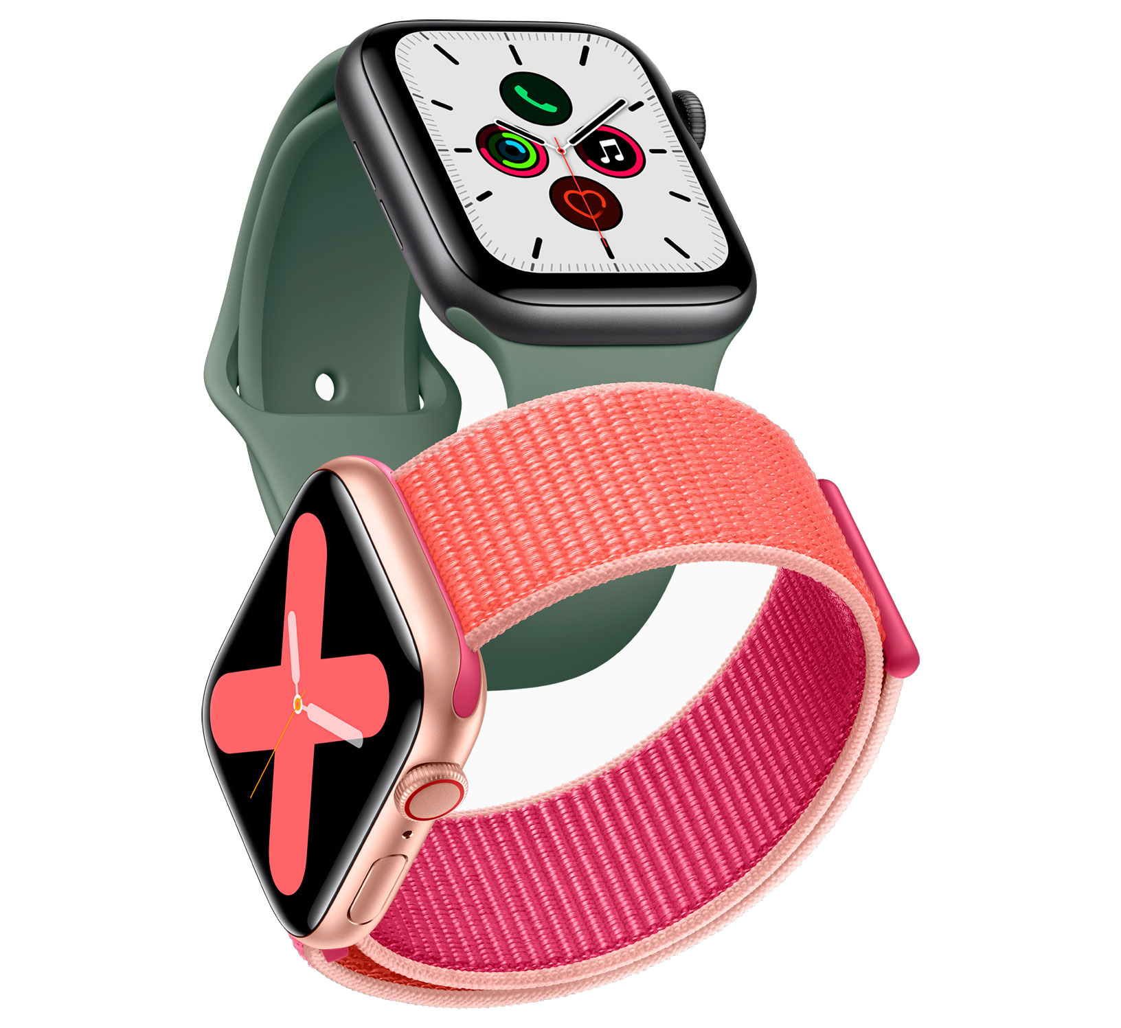 https://www.macfreak.nl/modules/news/images/zArt.AppleWatch_5-gold-aluminum-case-pomegranate-band-and-space-gray-aluminum-case-pine-green-band-091019.jpg